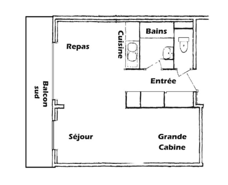 Vacaciones en montaña Apartamento 2 piezas para 5 personas (016) - Résidence l'Ecrin - Les Saisies - Plano