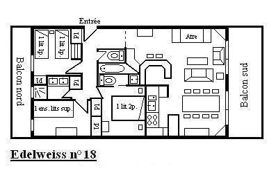 Vacances en montagne Appartement 4 pièces 8 personnes (18) - Résidence l'Edelweiss - Méribel - Plan