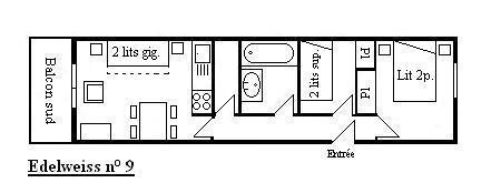Vacances en montagne Appartement 3 pièces 5 personnes (09) - Résidence l'Edelweiss - Méribel - Plan