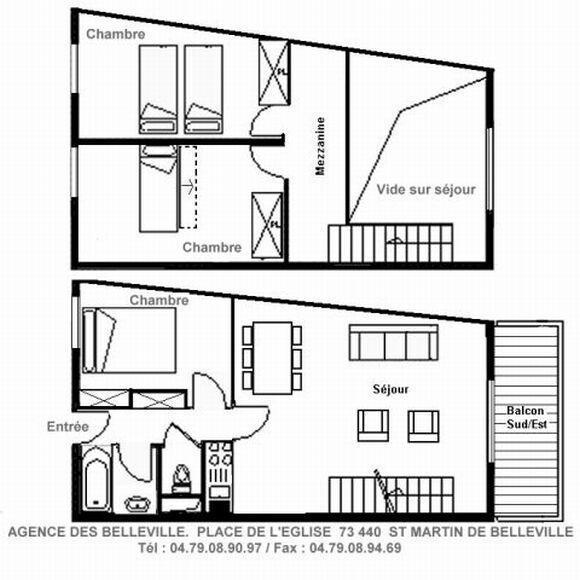 Holiday in mountain resort 4 room duplex apartment 6 people (05) - Résidence l'Epervière - Saint Martin de Belleville - Plan