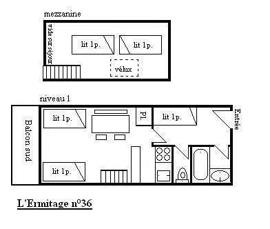 Vacances en montagne Studio duplex 3-5 personnes (36) - Résidence l'Ermitage - Méribel - Plan