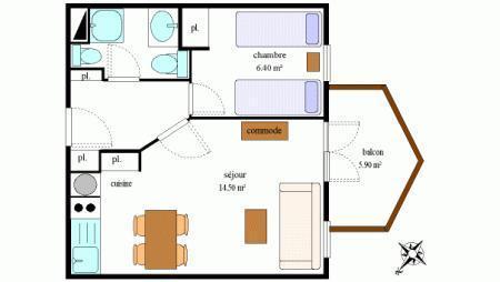 Vacances en montagne Appartement 2 pièces 4 personnes (220) - Résidence la Combe - Aussois
