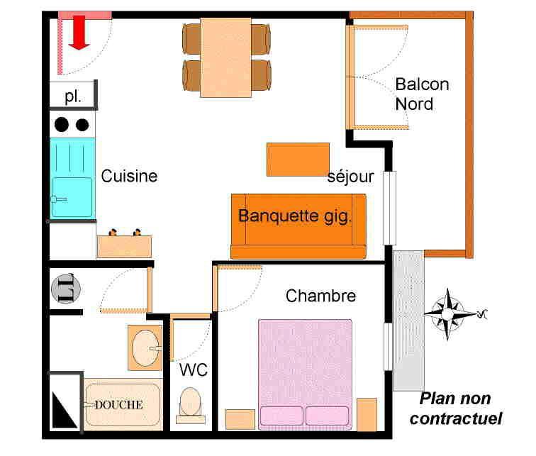 Vacances en montagne Appartement 2 pièces 4 personnes (206) - Résidence la Combe - Aussois