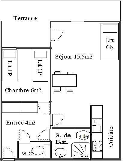 Wakacje w górach Apartament 2 pokojowy 4 osób (1) - Résidence La Corniche - Aussois - Plan