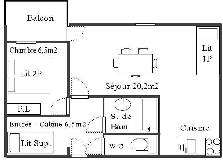Wakacje w górach Apartament 2 pokojowy z alkową 4 osoby (113) - Résidence La Corniche - Aussois - Plan