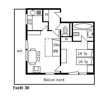 Vacances en montagne Appartement 2 pièces 4 personnes (30) - Résidence la Forêt - Méribel - Plan