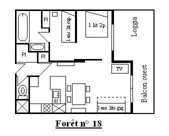 Vacances en montagne Appartement 2 pièces 6 personnes (18) - Résidence la Forêt - Méribel - Plan