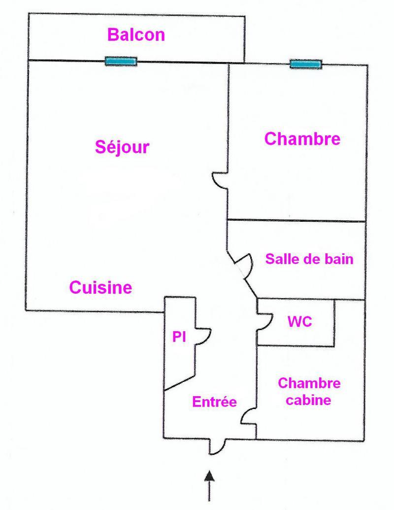 Каникулы в горах Апартаменты 3 комнат 4 чел. (04) - Résidence la Forêt des Rennes 1 C - Les Saisies - план