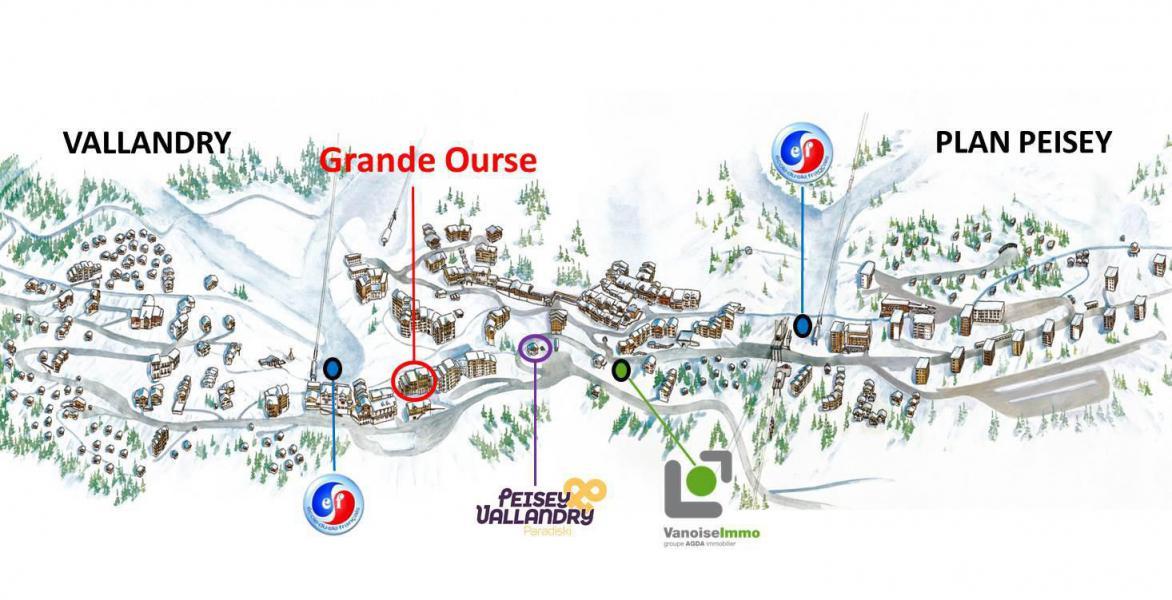 Vakantie in de bergen Résidence la Grande Ourse - Peisey-Vallandry - Kaart