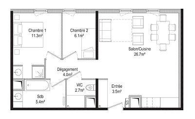 Holiday in mountain resort 3 room apartment 6 people (16) - Résidence la Petite Ourse - Flaine - Plan