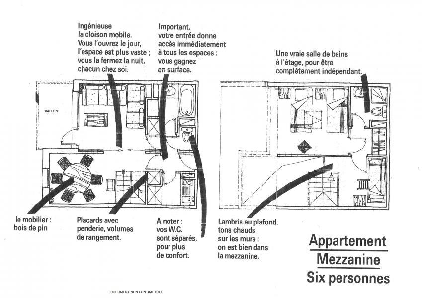 Vacances en montagne Appartement 3 pièces 6 personnes (046) - Résidence la Traverse - Montchavin La Plagne - Plan