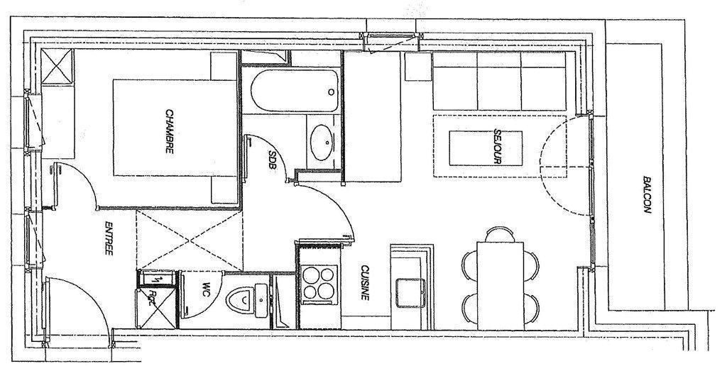 Wakacje w górach Apartament 2 pokojowy 5 osób (GL303) - Résidence la Valériane - Valmorel - Plan