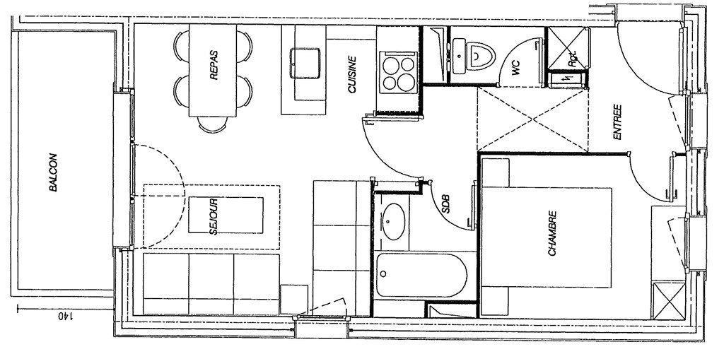 Wakacje w górach Apartament 2 pokojowy 5 osób (GL320) - Résidence la Valériane - Valmorel