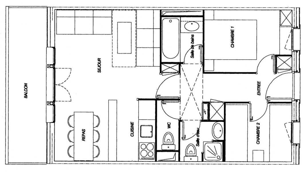 Wakacje w górach Apartament 3 pokojowy 7 osób (GL309) - Résidence la Valériane - Valmorel - Plan