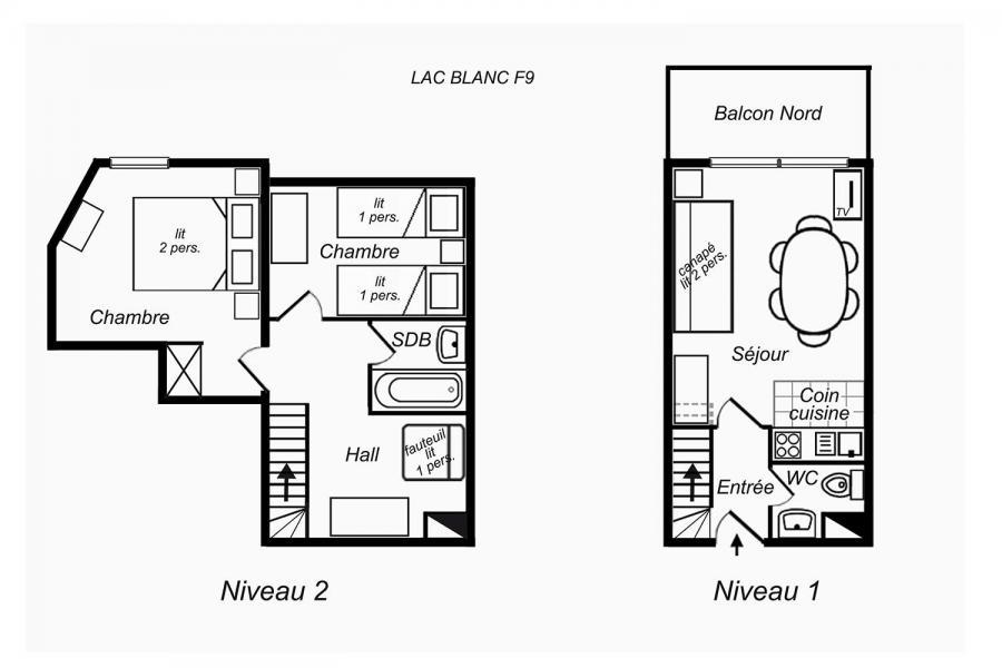 Vacanze in montagna Appartamento su due piani 3 stanze per 6 persone (F9) - Résidence Lac Blanc - Méribel-Mottaret
