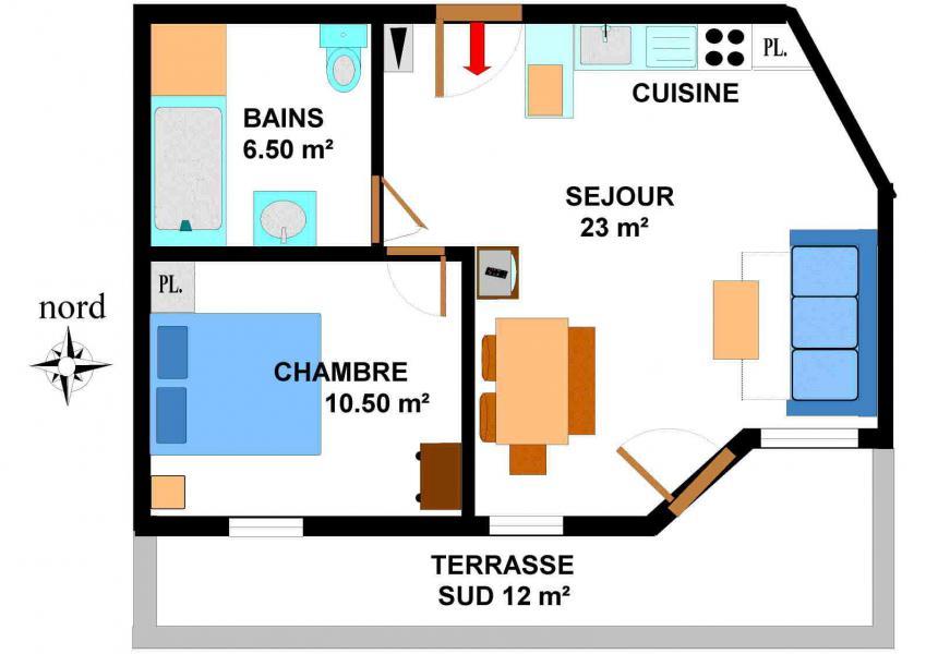 Vacances en montagne Appartement 2 pièces 4 personnes (B05) - Résidence le Bonheur des Pistes - Val Cenis - Plan