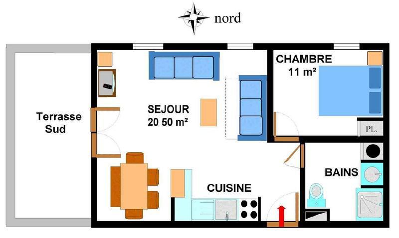 Vacances en montagne Appartement 2 pièces 5 personnes (B03) - Résidence le Bonheur des Pistes - Val Cenis - Plan