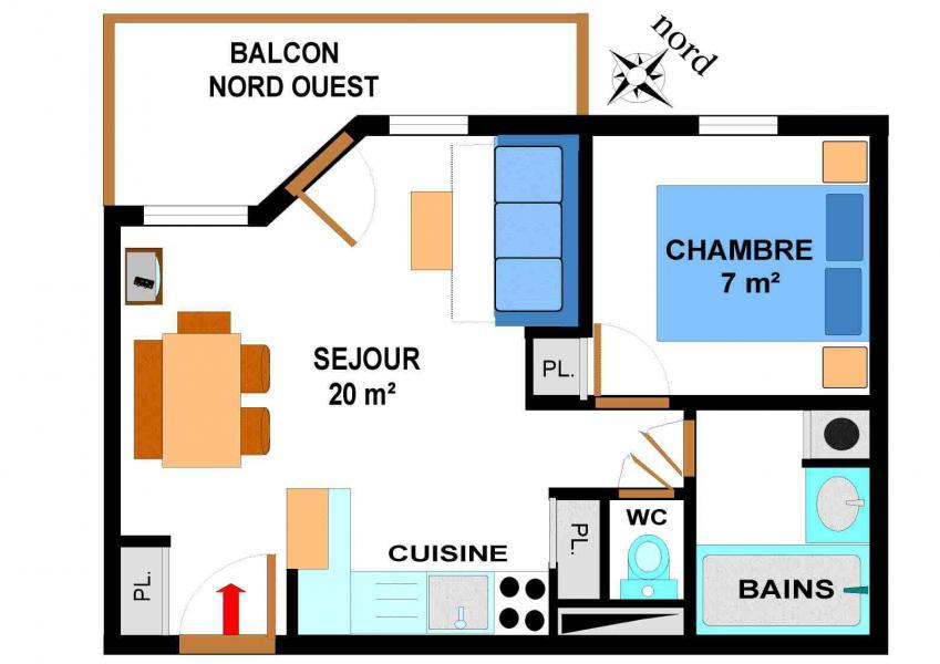 Vacances en montagne Appartement 2 pièces 4 personnes (B34M) - Résidence le Bonheur des Pistes - Val Cenis