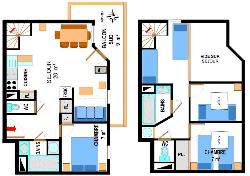 Vacances en montagne Appartement duplex 4 pièces 10 personnes (A77) - Résidence le Bonheur des Pistes - Val Cenis
