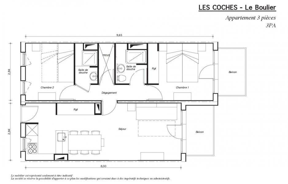 Vacanze in montagna Appartamento 3 stanze per 6 persone - Résidence le Boulier - Montchavin La Plagne - Mappa