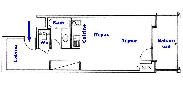 Vacaciones en montaña Apartamento cabina para 4 personas (006) - Résidence le Bouquetin - Les Saisies - Plano