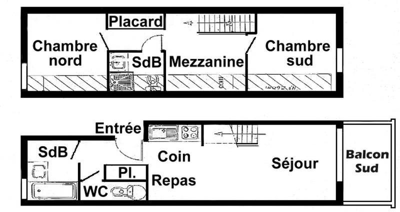 Vacaciones en montaña Apartamento 3 piezas mezzanine para 8 personas (020) - Résidence le Byblos - Les Saisies - Plano