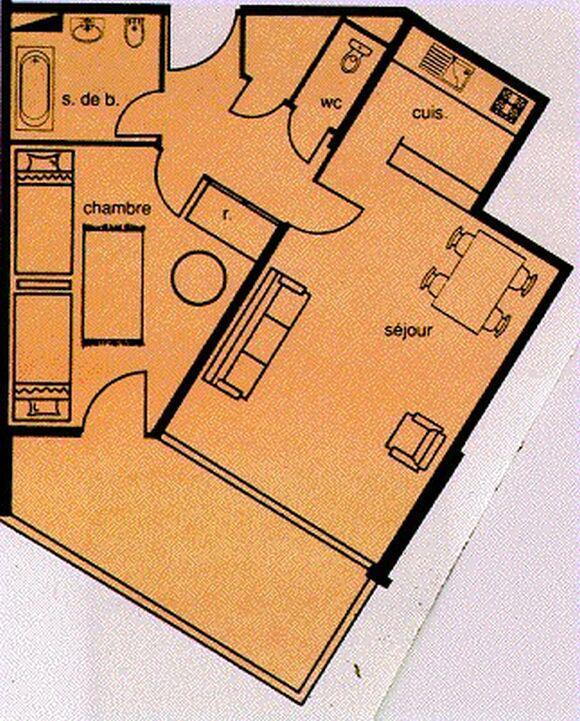 Vacances en montagne Appartement 2 pièces 6 personnes (105) - Résidence le Cap 2000 - Chamrousse - Plan