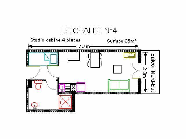 Holiday in mountain resort Studio 4 people (4) - Résidence le Chalet - Gourette