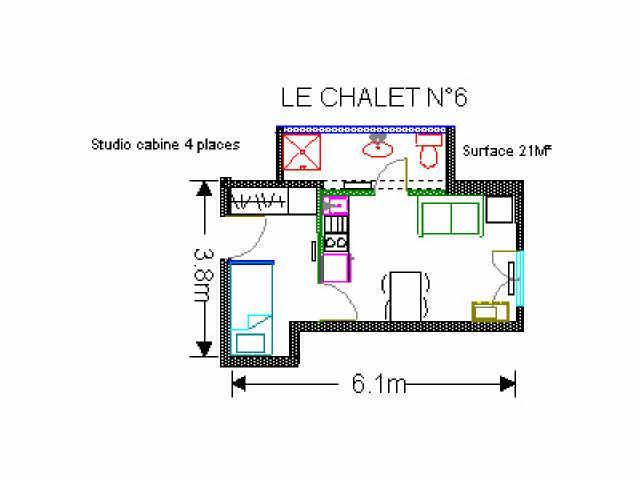Holiday in mountain resort Studio 4 people (6) - Résidence le Chalet - Gourette - Plan