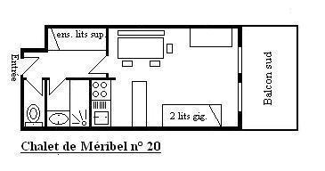 Holiday in mountain resort Studio 4 people (20) - Résidence le Chalet de Méribel - Méribel - Plan
