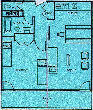 Vacances en montagne Appartement 2 pièces 6 personnes (205) - Résidence le Chamois - Chamrousse - Plan