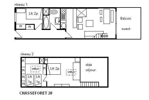 Vacances en montagne Appartement duplex 3 pièces 6 personnes (20) - Résidence le Chasseforêt - Méribel - Plan