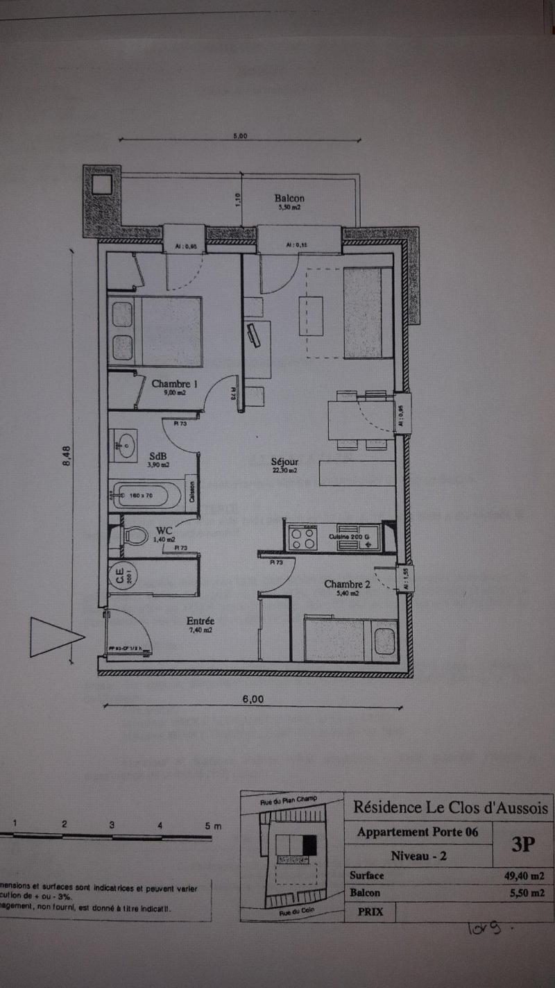 Wakacje w górach Apartament 3 pokojowy 6 osób (CA6) - Résidence le Clos d'Aussois - Aussois - Plan