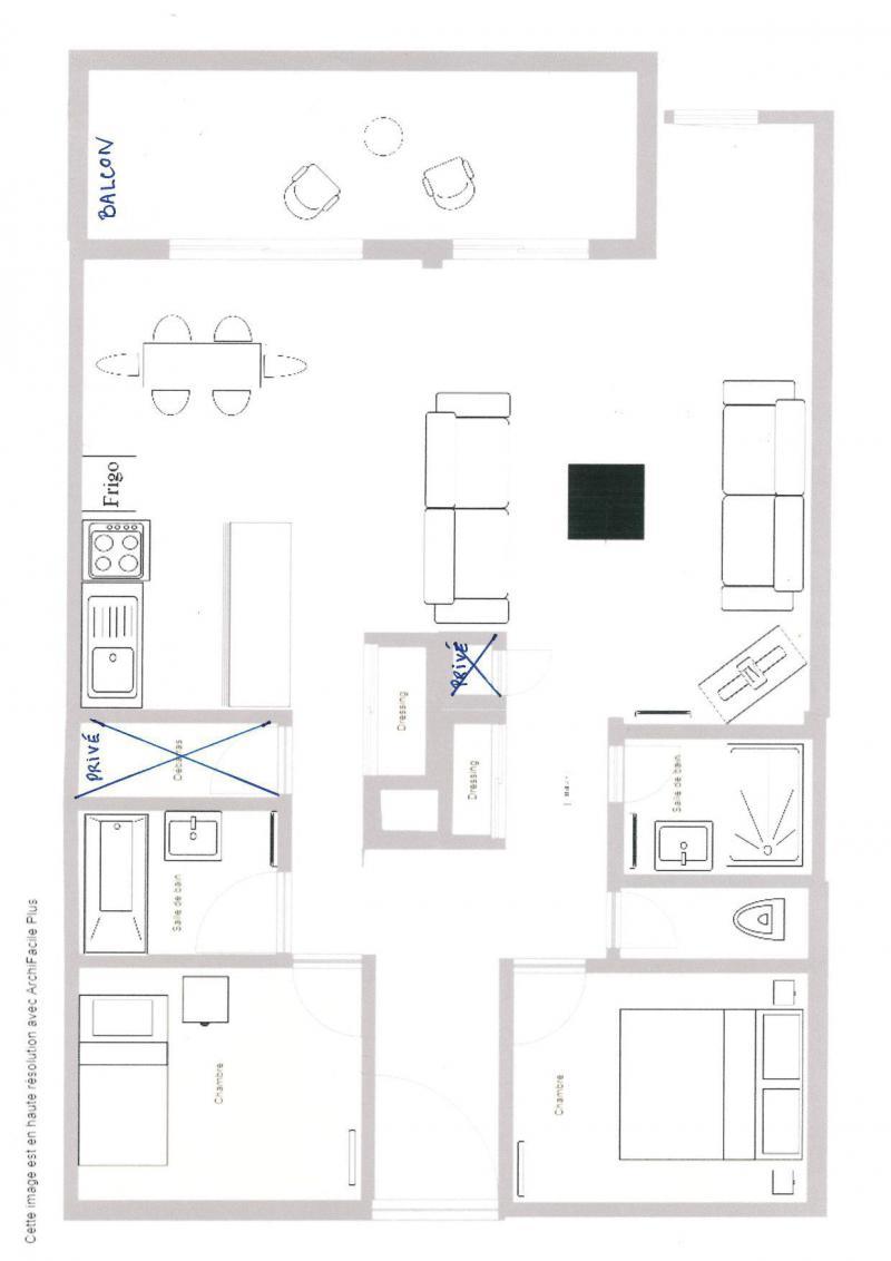 Vacances en montagne Appartement 3 pièces 5 personnes (012) - Résidence le Damier - Montchavin La Plagne - Plan