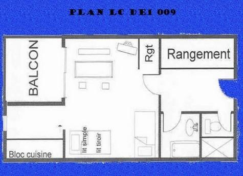 Vacances en montagne Studio 3 personnes (009) - Résidence le Dé 1 - Montchavin La Plagne - Plan