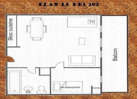 Vacances en montagne Studio coin montagne 4 personnes (202) - Résidence le Dé 3 - Montchavin La Plagne - Plan