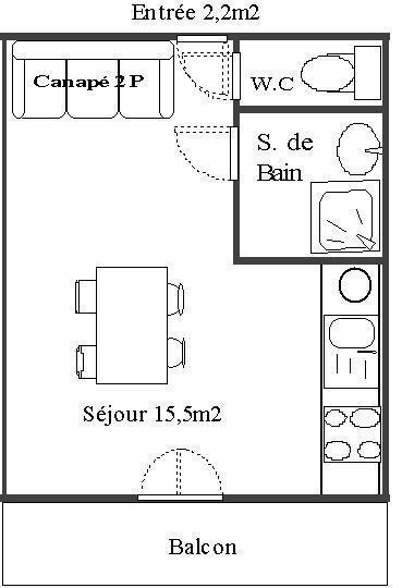 Wakacje w górach Studio 2 osoby (103) - Résidence Le Genevray - Aussois - Plan