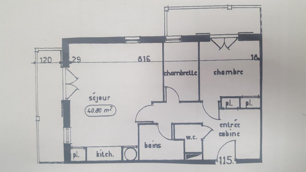 Wakacje w górach Apartament 2 pokojowy kabina 6 osób (115) - Résidence Le Genevray - Aussois - Plan