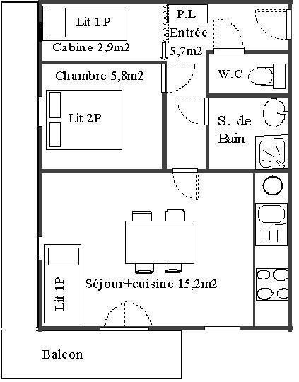 Wakacje w górach Apartament 2 pokojowy kabina 4 osób (114) - Résidence Le Genevray - Aussois - Plan