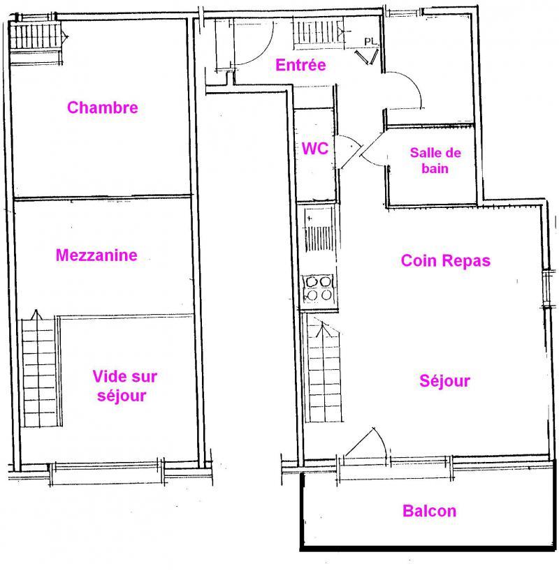 Vacaciones en montaña Apartamento 3 piezas mezzanine para 6 personas (3318) - Résidence le Grand Mont 3 - Les Saisies - Plano