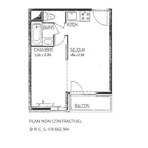 Vacances en montagne Appartement 1 pièces 4 personnes (B77) - Résidence le Jettay - Les Menuires - Plan