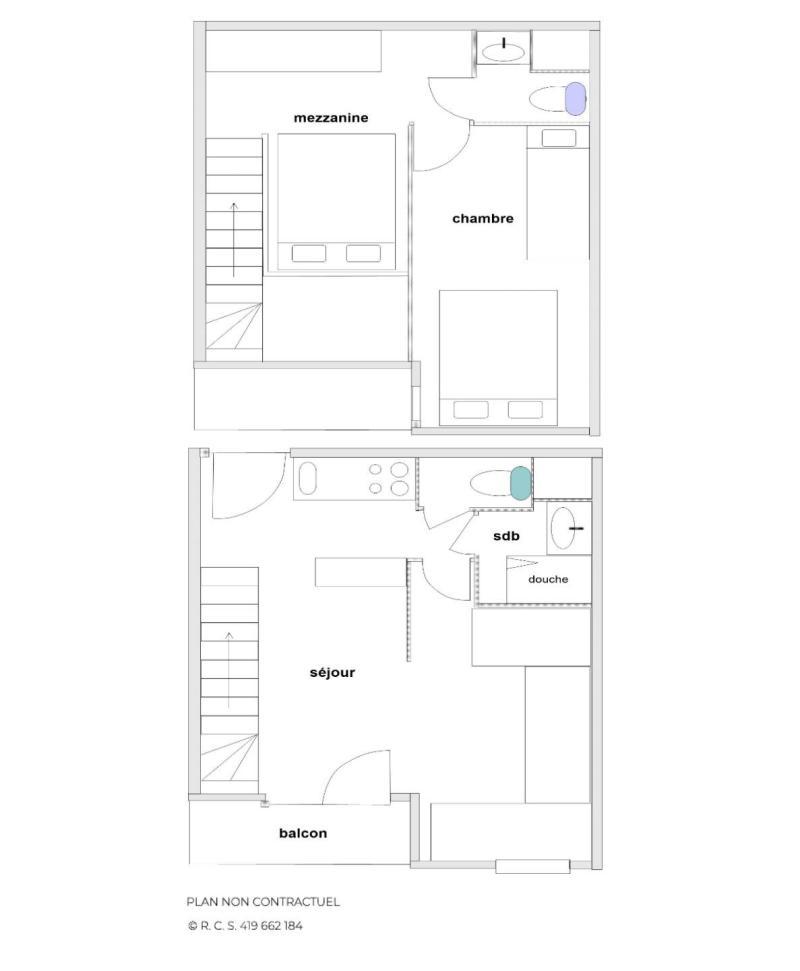 Vacances en montagne Appartement 2 pièces mezzanine 7 personnes (C136) - Résidence le Jettay - Les Menuires - Plan