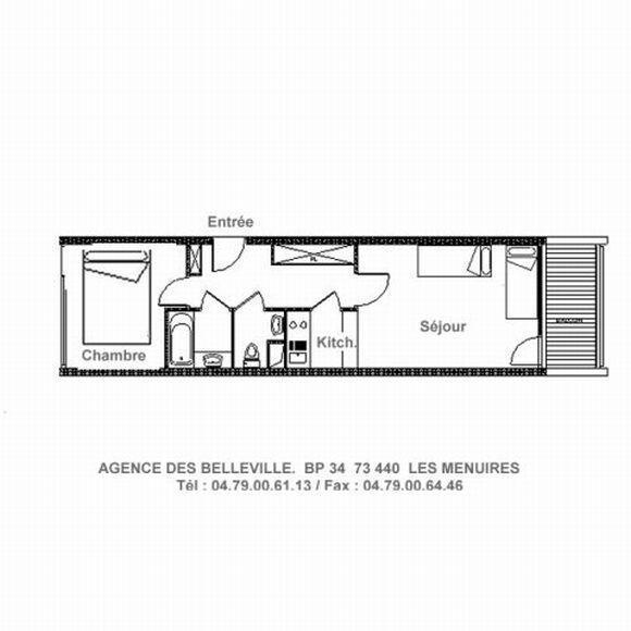 Vakantie in de bergen Appartement 2 kamers 5 personen (LC0112) - Résidence le Lac du Lou - Les Menuires - Kaart