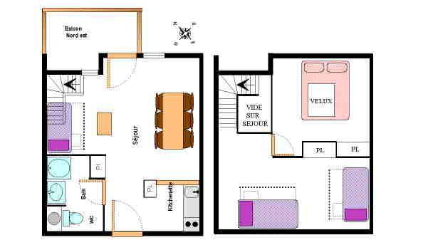 Vacances en montagne Appartement 2 pièces mezzanine 6 personnes (26) - Résidence le Petit Mont Cenis - Termignon-la-Vanoise - Plan