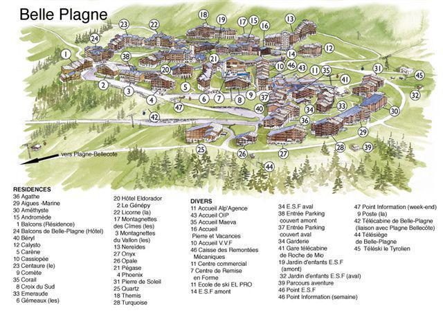 Urlaub in den Bergen Résidence le Quartz - La Plagne - Plan