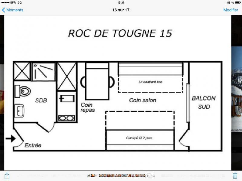 Vacances en montagne Studio 6 personnes (015) - Résidence le Roc de Tougne - Méribel-Mottaret - Plan