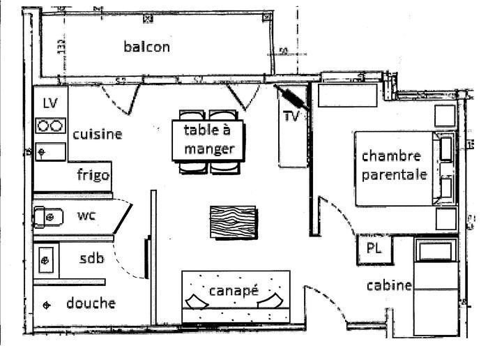 Vacaciones en montaña Apartamento 2 piezas cabina para 6 personas (035) - Résidence le Tavaillon - Les Saisies - Plano