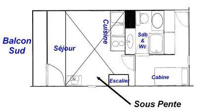 Vacaciones en montaña Apartamento 2 piezas mezzanine para 6 personas (425) - Résidence le Village 4 - Les Saisies - Plano