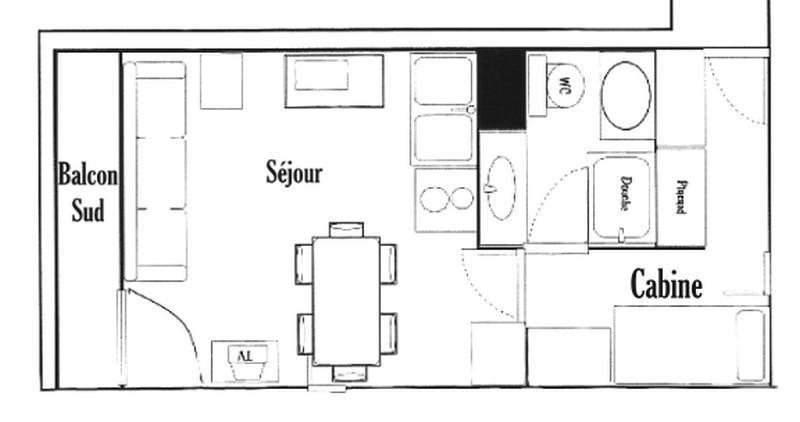 Vacaciones en montaña Estudio -espacio montaña- para 4 personas (415) - Résidence le Village 4 - Les Saisies - Plano