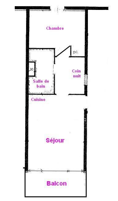 Vacaciones en montaña Apartamento 2 piezas cabina para 5 personas (533) - Résidence le Village 5 - Les Saisies - Plano